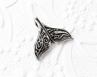 2 Whale Tail Pendants, Silver Whale Tail, Whale Pendant, SP003, 20mm x 18mm
