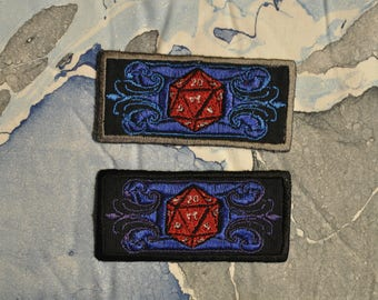 Embroidered Stylized D20 Patch - Dungeons and Dragons - D&D - Roleplaying Dice - Art Deco Flourish