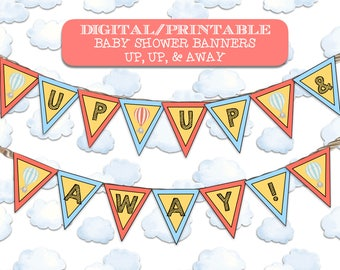 Up, Up, & Away Baby Shower Banners