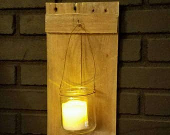 Reclaimed Wood & Mason Jar Wall Sconces Pair Set of 2 Rustic Pallet Barn Country