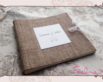 Guestbook wedding vintage burlap to customize