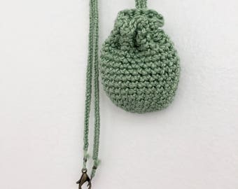 Pouch Necklace // Small // Sage