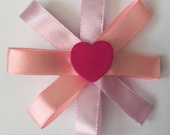 Heart hair clip - ribbon hair clip - heart clip - heart fringe clip - pink hair clip - pink heart clip - ribbon clip - heart ribbon clip