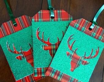 Plaid DeerHead Christmas tags