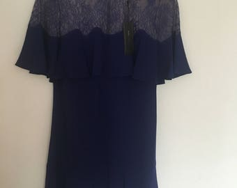 RRP 253 POUND Designer Frill Lace Dress