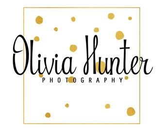 Gold foil logo design, photography logo design, premade square logo, shop branding template, gold foil square, script logo, instant download