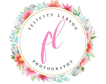 Floral watercolor logo design, photography logo design, gold foil logo, floral logo design, premade branding template, instant download