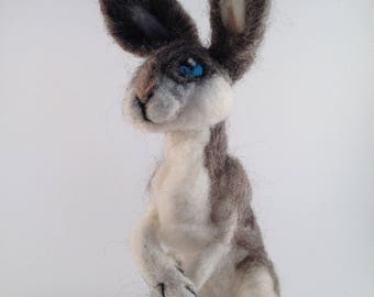 Fully poseable needle felted bunny