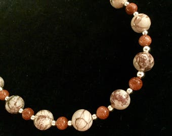 Willow Rhyolite and Red Goldstone necklace