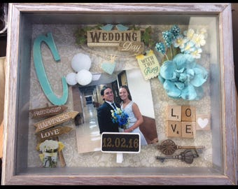 "8""x 10"" Personalized Wedding Shadow Box"