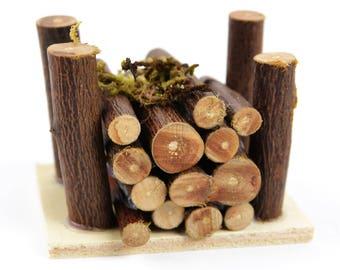 Wood Pile - 2.5 x 1.75 x 1.75 inches - Miniature Fairy Garden Dollhouse