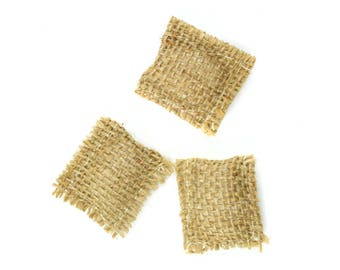 "Burlap Gunny Sacks - 1.3"" x 1.3"" - Set of 3 - Miniature Fairy Garden Dollhouse"