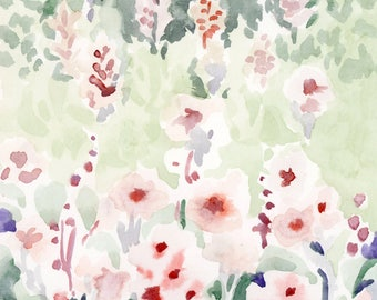Wildflower Meadow Watercolor Painting