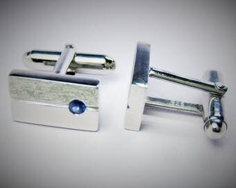 925 Silver Cuff-Links with natural Ceylon Sapphire
