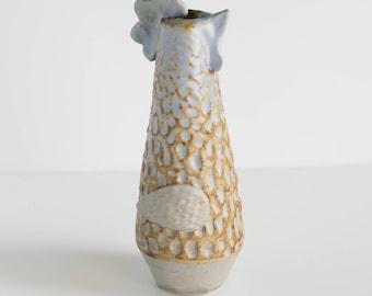 Francine Stoneware Chicken  [Year of the Rooster, Flower Vase, Ceramic farm animal, handmade, pottery, farmhouse ]