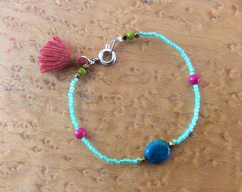 tropical ocean miyuki delica bracelet with crysocolla stone and tassle