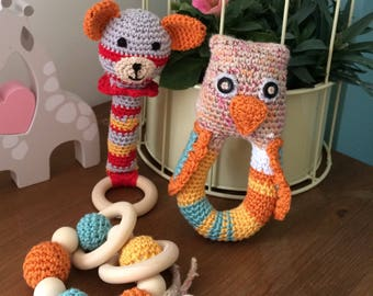 Crochet baby rattle toy gift set  baby teething toy