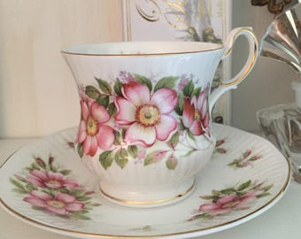 Tea Cup & Saucer Queen's Prairie Rose Pink and White Vintage Collectable