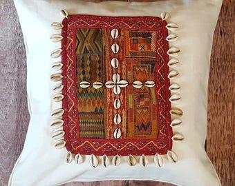 "Vintage Banjara Tribal Indian Cushion Cover / Cowrie Shells Bohemian Decorative Scatter Cushion 16x16"" (40x40cm)"