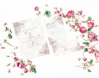 Elegant Beige Wedding Invitation with RSVP - Sample
