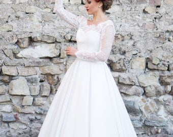 White wedding dress, with lace top and princess skirt