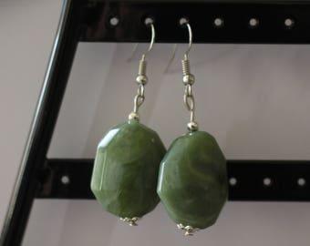 Sea green stone drop earrings
