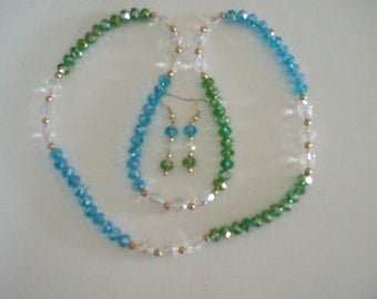 26in 8mm round blue & green crystals