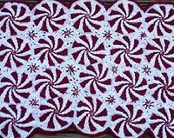Crochet Peppermint Swirl Blanket