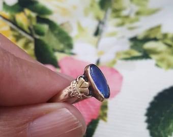 Vintage 10K Blue Glass Deco Ring