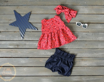 12-18 Months Fourth of July Red and Blue Peplum Shirt and Shorts