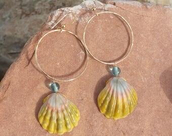 Gold filled Sunrise hoop earrings