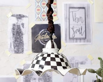 Checkered Big Glass Pendant - Black & White with fabric sleeve