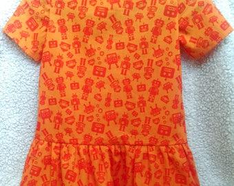 Orange Dress, Girl's Dress, Summer Dress, Cotton Dress, Retro Classic Dress, Retro Style Dress, Size 110 Dress, Robot Print