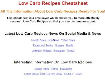 Low Carb Recipes PDF Cheat Sheet