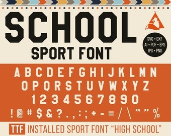 School Sport font Svg, Varsity Alphabet Svg, Cuttable Sport Letters, Sport Numbers, Cricut, Silhouette cut font Dxf, Png, Jpg, Pdf, Eps, Ai,