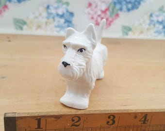 Vintage white china scottie dog figurine, Scottish Terrier