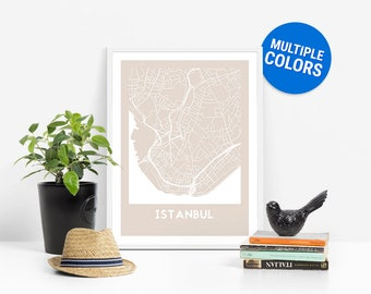 Istanbul Full Color Map Print | Istanbul Turkey Map | Istanbul Art