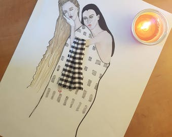 Friends Forever Illustration Klimt Inspired Fashion Illustration