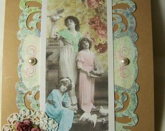 Handmade greeting card. Victorian style greeting card, My Beautiful Sister card.