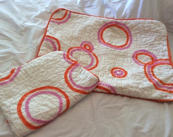 Crazy pink and orange pillow shams