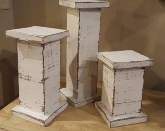 Rustic, Distressed, Shabby Chic Candle Holders