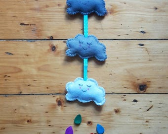 Felt cloud decor - Cloud nursery decoration - Nursery hanging decoration - Gift for newborns