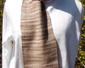 Hand woven, one of a kind scarf in variegated tan neutral colors