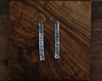 Silver Textured Hanging Drop Earrings