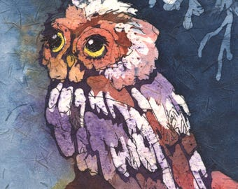 "Watercolor Batik, Original, Owl, Matted, 8"" x 10"", ready-to-frame"