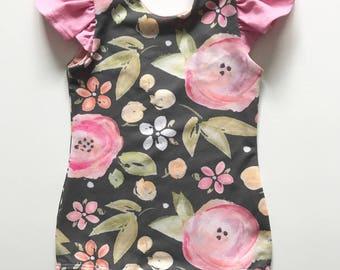 toddler girls baby flutter sleeve pink grey watercolor flower floral leotard bodysuit