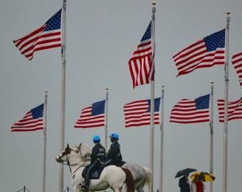 Protecting the flag Washington Monument Washington DC