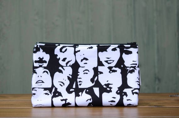 60's black and white faces large bag