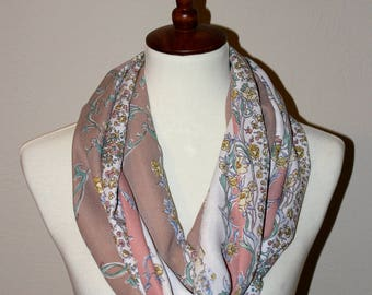 Infinity Scarf - Cream and Pink