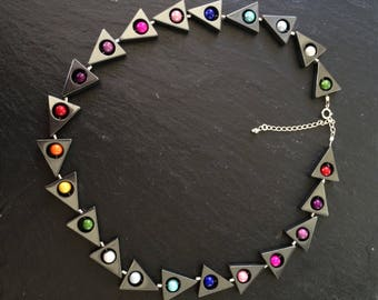 "17 1/2"" haematite and rainbow bead necklace with 2 1/2"" sterling silver extension chain"